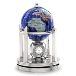 3 Inch Galleon Caribbean Blue Rotating Globe - Silver Base