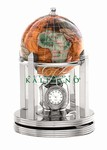 3 Inch Galleon Amberlite Rotating Globe - Silver Base