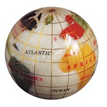 Mother of Pearl Gemstone Globe Paperweight