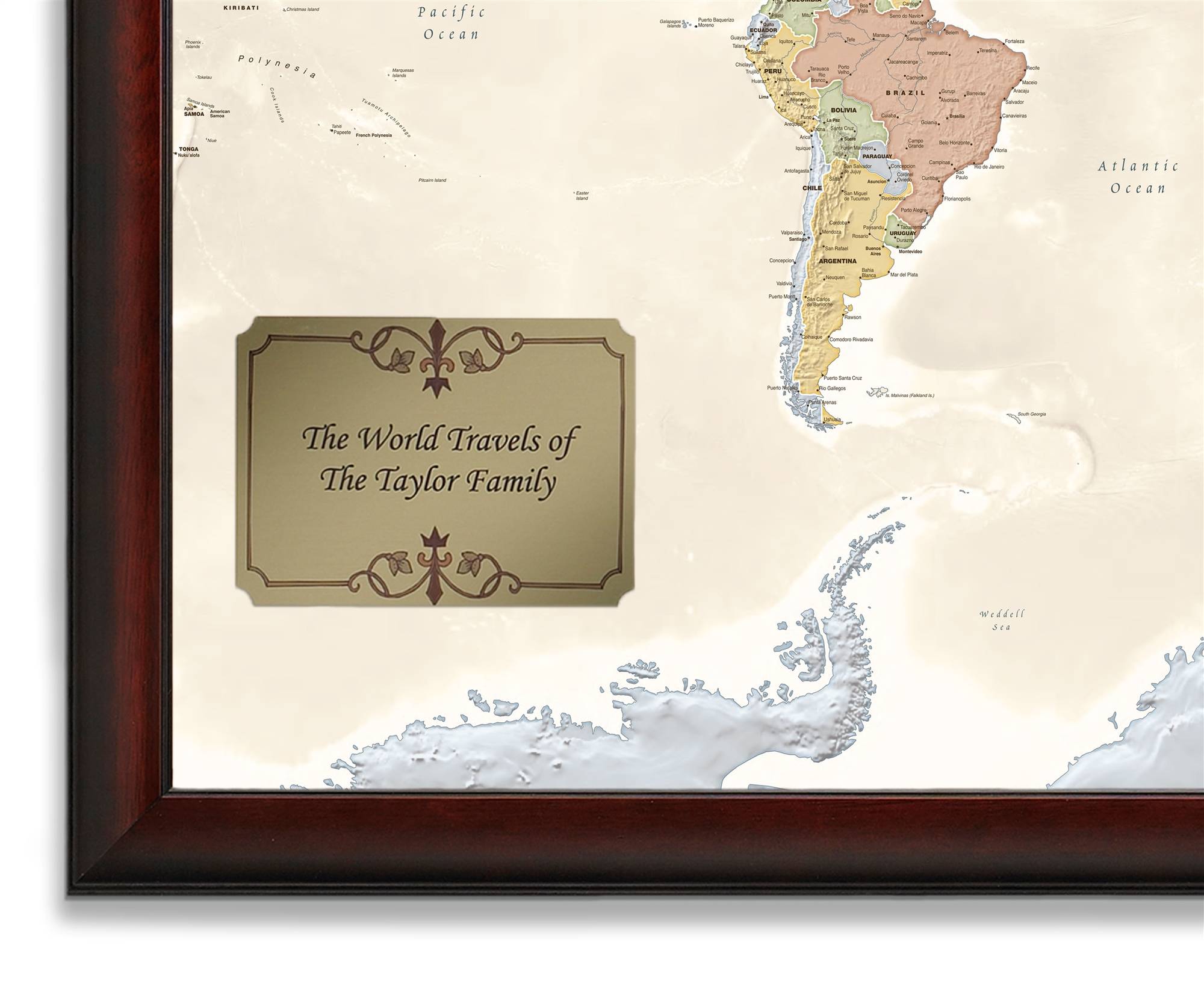 World Traveler Map Personalized from OnlyGlobes Free Shipping – Personalized World Traveler Map Framed
