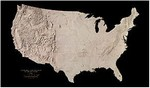 Raven Wall Map of the Landforms and Drainage of the 48 States