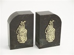 Green Marble Golf Bag & Clubs Bookends