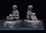 Bronze Reading Boy and Girl Bookends