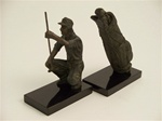 Metal Golfer and Bag Bookends
