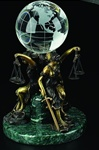 Seated Lady Justice Globe Holder