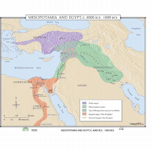 Map of Mesopotamia & Egypt, 4000 BC - 1000 BC from OnlyGlobes.com