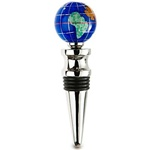 Silver Finish Caribbean Blue Gemstone Globe Wine Bottle Stopper