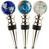 Gold Finish Set Of 3 Gemstone Wine Bottle Stoppers