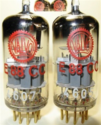 Matched Pair Amperex Philips E88CC 6922  Rare 1960 D-Getter, Valvo Red Label Industrial Version. Same date/batch code from Heerlen Holland Plant 7L5 40E. Valvo Red Label Industrial tubes went through extensive testing and burning process and are very desi