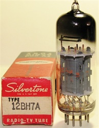 Sylvania 12BH7A - Single Tube MINT NOS NIB 1960s Square Getter Silvertone Label - USA