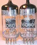 Matched Pairs, Like New BRIMAR T-Series 6060, Premium 12AT7 Black Plates Tubes.