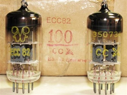 Brand New, MINT NOS Mid-1970s Production Funkwerk RFT ECC82 12AU7 Halo Getter tubes. Selected for Czech Military. Tubes came with Funkwerk RFT Logo in Tesla Bulk Boxes with Czech Military Cross Shield Banner. Re-packed in generic white boxes. Made in E. G