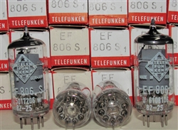 Brand New MINT NOS NIB Telefunken EF806S Diamond Bottom tubes. EF806S is the highest grade Telefunken EF86 type sought after by Neumann U67 Microphones. All tubes with the Same Date/Batch code from 1982 ULM Plant in West Germany (ULM ceased prod in 1985)