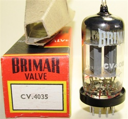 Single Tube, Brand New MINT NOS NIB Rare Mid-1960s BRIMAR CV4035 Military Box Plate. CV4035 Flying Lead is a Premium Grade, High Reliability Long Life version of ECC83/CV492/CV4004/6057/12AX7 valves (Click Here). Etched STC Date Codes. Made in England.