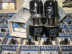 Brand Spanking NEW, MINT NOS NIB 1944 AVW Philips MINIWATT 6V6GT/G Black Plate Black Glass tubes. Made in Australia. WWII Department of Defense Stock in 50 pc cartons complete with War Appeal.