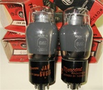 Brand Spanking NEW, NIB 1950s MARCONI CANADA JAN 6V6G ST Coke Bottle smoke glass tubes. Military production. Very desirable tube for both Guitar and Audio applications.