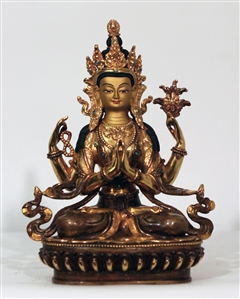 Statue Chenrezig, 08 inch, Partially Goldplated
