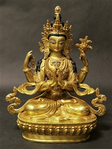 Statue Chenrezig, 08 inch, Gold Finish