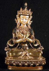 Statue Vajardhara, Dorje Chang, 08 inch, Partially Gold Plated