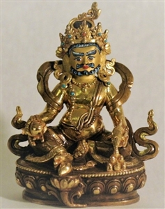Statue Dzambhala, 09 inch, Partially Gold Plated