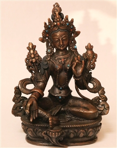 Statue Green Tara, 13 inch, Partially Gold Plated