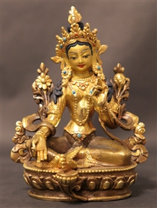 Statue Green Tara, 5.5 inch, Partially Gold Plated