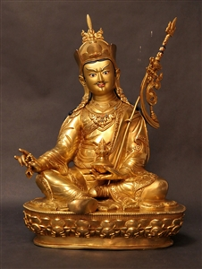 Statue Guru Rinpoche, 12 inch, Fully Gold Plated