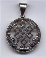 Eternal Knot pendant, silver, 1 inch