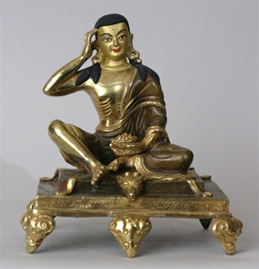 Statue Milarepa, 05 inch, Partially Gold Plated