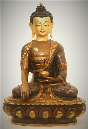 Statue Shakyamuni Buddha, 12 inch, Partially Gold Plated