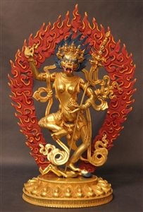 Statue Singha Mukha, 12 inch, Partially Gold Plated