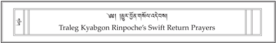 Traleg Kyabgon Rinpoche's Swift Return Prayers