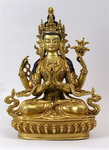 Statue Chenrezig, 08 inch, Fully Gold Plated, Fine Carving