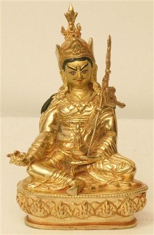 Statue Guru Rinpoche, 06 inch, Fully Gold Plated