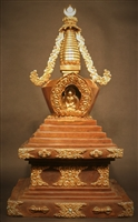 Statue Stupa 18 inch Copper and Partially Gold Plated