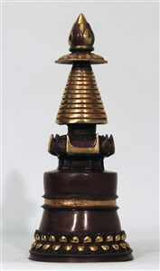 Statue Stupa, 10 inch, Kadam, Partially Gold Plated