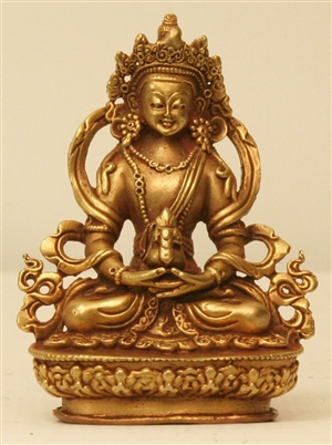 Statue Amitayus, 08 inch, Double Lotus, Partially Gold Plated