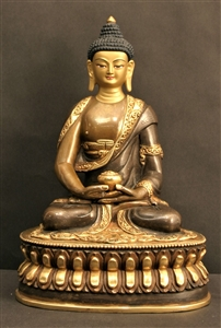 Statue Amitabha, 08 inch, Partially Gold Plated