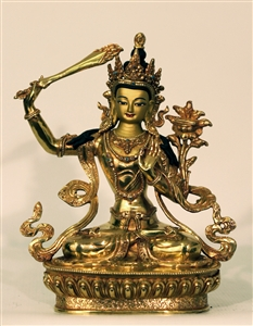 Statue Manjushri, 08 inch, Fully Gold Plated
