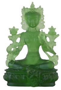 Statue Green Tara, 13 inch Fully Gold, Very Fine Quality