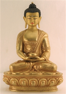 Statue Amitabha, 12 inch, Fully Gold Plated