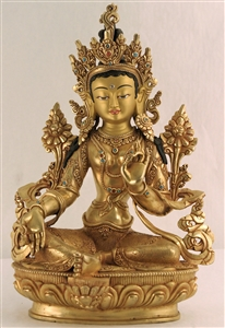 Statue Green Tara,10 inch, Fully Gold Plated