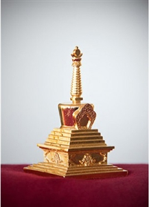 Statue Stupa, 03 inch, Enlightenment, Fully Gold Plated