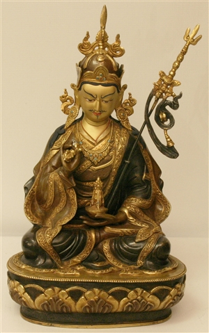 Statue Guru Rinpoche, Kon Chok Chi Du,14 inch, Partially Gold Plated
