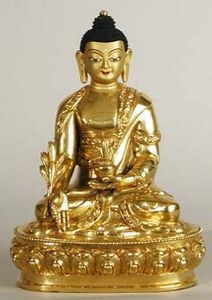 Statue Medicine Buddha, 06 inch, Fully Gold Plated