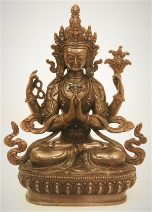 Statue Chenrezig, 08 inch, Partially Gold Plated