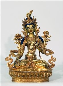 Statue White Tara, 08 inch, Fully Gold Plated
