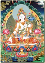 "Card Laminated; White Tara, 5"" x 7"""