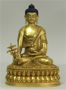Statue Medicine Buddha, 08 inch, Fully Gold Plated