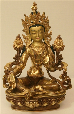 Statue Green Tara  12 inch, fully gold plated, painted, Zanzibar style